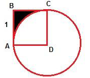 ABCD is square and AB=1. Find the area of the black space.
