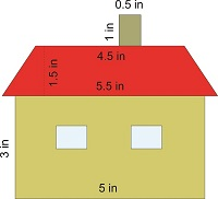 Calculate the surface of the house drawing.